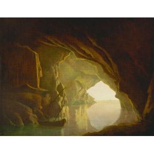 フリー絵画, ジョセフ・ライト, 風景画, 海, 洞窟, 船, 帆船, イタリアの風景