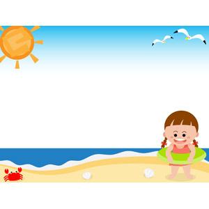 フリーイラスト, ベクター画像, AI, 人物, 子供, 女の子, 海水浴, レジャー, 夏休み, 夏, 海, 鴎(カモメ), 蟹(カニ), 貝殻, ビーチ(砂浜), 水着, 浮き輪