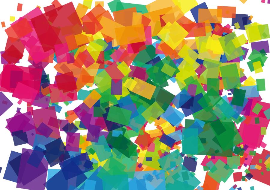 フリーイラスト カラフルな四角形の背景