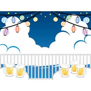 フリーイラスト, ベクター画像, EPS, ビアガーデン, 提灯, 夏, 夜, 飲み物(飲料), お酒, ビール, ビールジョッキ, 飲食店