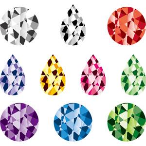 フリーイラスト, ベクター画像, AI, 宝石, ダイヤモンド, ルビー, ガーネット, ブルートパーズ, エメラルド, アメジスト, ピンクサファイア, サファイア, シトリン