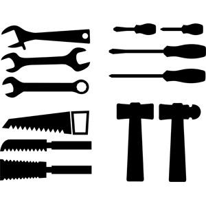 フリーイラスト, ベクター画像, AI, 工具, レンチ, 鋸(のこぎり), ねじ回し(ドライバー), 金槌(トンカチ)