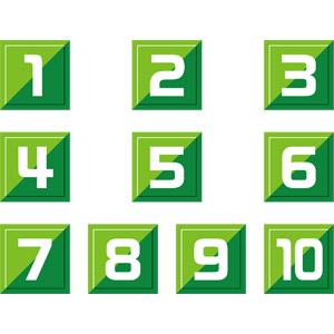フリーイラスト, ベクター画像, AI, 数字, 0(零), 1(一), 2(二), 3(三), 4(四), 5(五), 6(六), 7(七), 8(八), 9(九), 10(十), 緑色(グリーン)