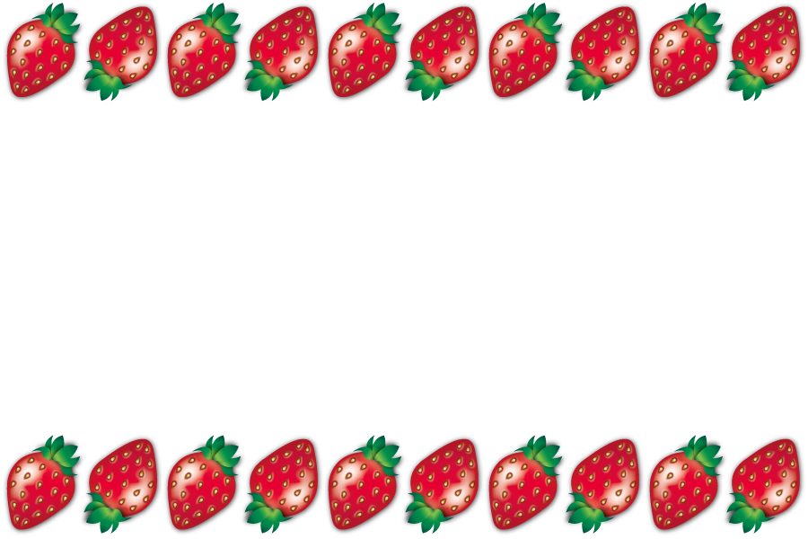 フリーイラスト 並んだイチゴの飾り枠