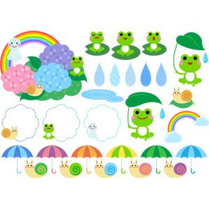 フリーイラスト, ベクター画像, AI, 梅雨, 6月, 動物, 両生類, 蛙(カエル), カタツムリ, 傘, 水滴(雫), 虹, 紫陽花(アジサイ), てるてる坊主