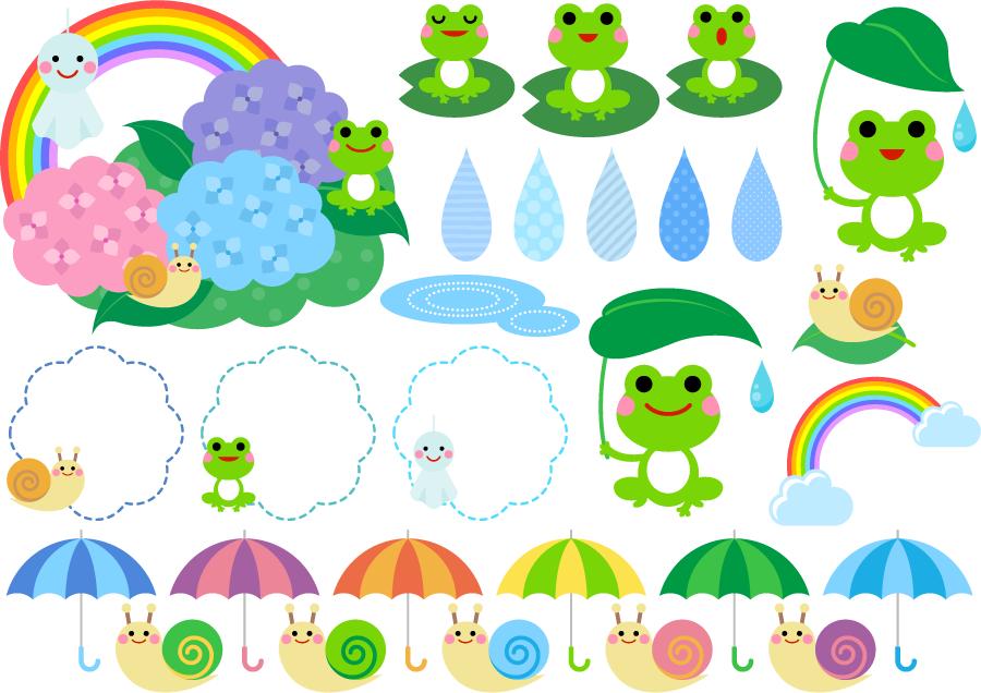フリーイラスト カエルやカタツムリなどの梅雨関連のセット