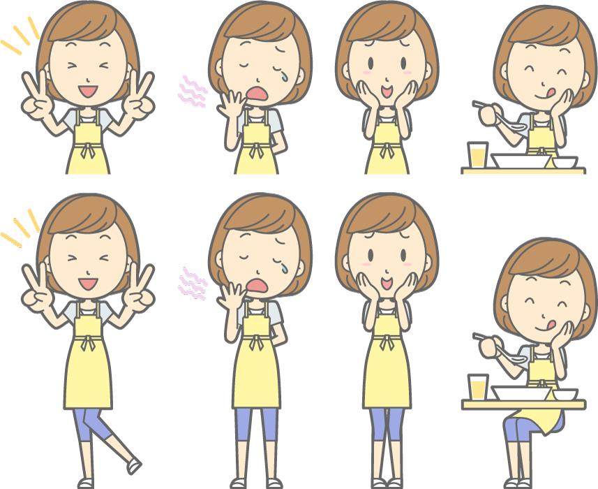 フリーイラスト 食事をするなどの8種類の主婦のセット