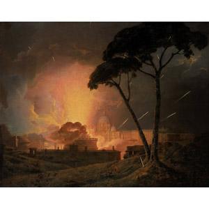 フリー絵画, ジョセフ・ライト, 風景画, 建造物, 建築物, 城, サンタンジェロ城, 夜, 花火, 煙(スモーク), イタリアの風景, ローマ