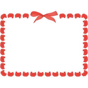 フリーイラスト, ベクター画像, EPS, 背景, フレーム, 囲みフレーム, 年中行事, 母の日, 5月, 花, カーネーション, 赤色の花, 蝶リボン