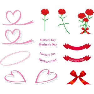 フリーイラスト, ベクター画像, AI, 年中行事, 母の日, 5月, 花, カーネーション, 赤色の花, リボン, ハート, 帯リボン, 蝶リボン