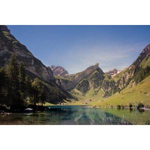 フリー写真, 風景, 湖, 山, ゼーアルプ湖, スイスの風景, 青空