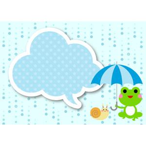 フリーイラスト, ベクター画像, AI, 背景, 梅雨, 6月, 雨, 吹き出し, 水玉模様(ドット柄), 傘, 蛙(カエル), カタツムリ