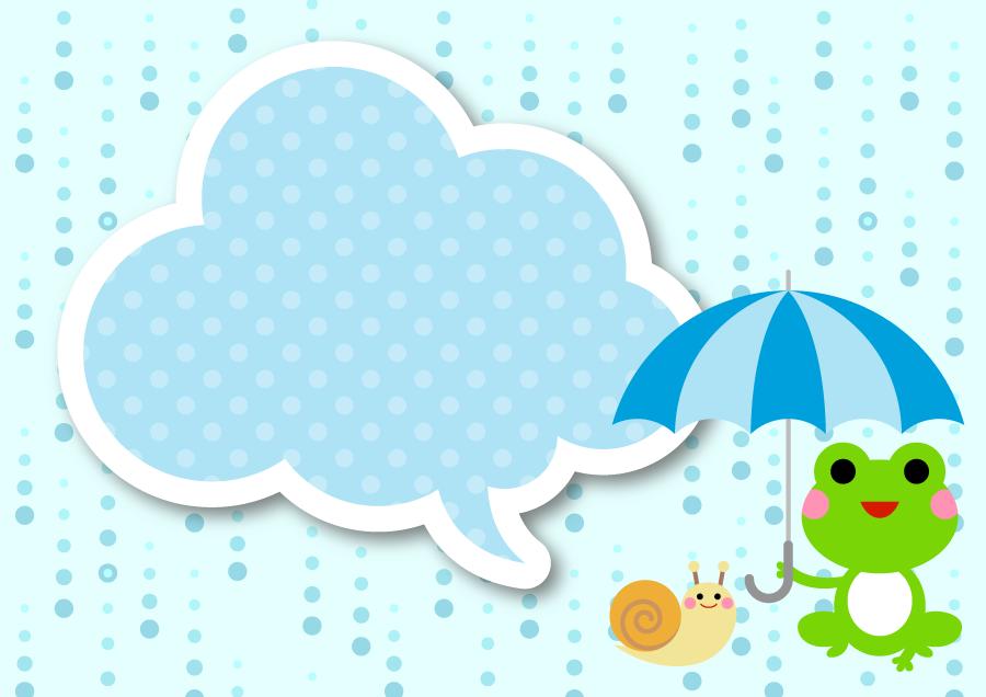 フリーイラスト 雨とカエルとカタツムリと吹き出しの背景