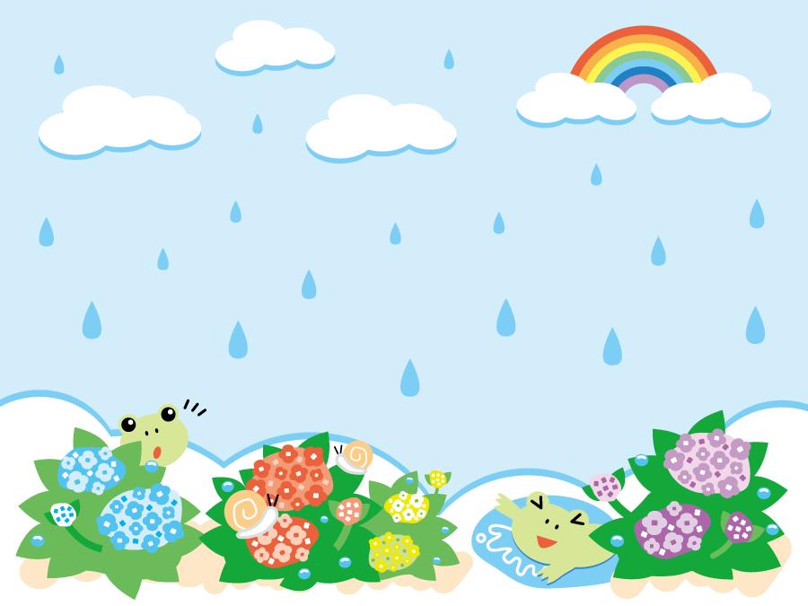 フリーイラスト 虹と雨の降る梅雨の日の背景