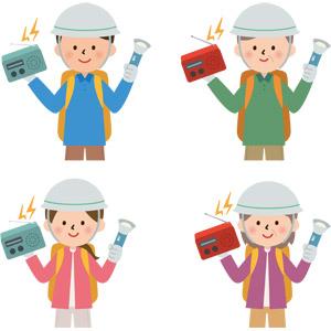 フリーイラスト, ベクター画像, AI, 人物, 男性, 女性, 老人, シニア男性, シニア女性, 祖父(おじいさん), 祖母(おばあさん), 防災グッズ, 非常持ち出し袋, 防災用ヘルメット, 懐中電灯, ラジオ