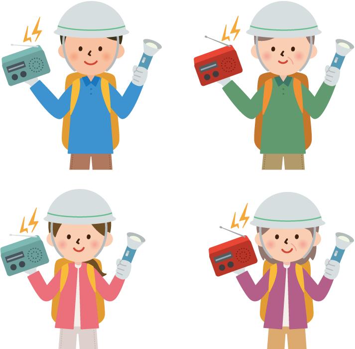 フリーイラスト 4人のラジオと懐中電灯を持って防災に備える人々のセット