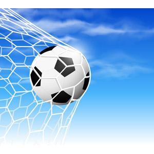 フリーイラスト, ベクター画像, AI, スポーツ, 球技, サッカー, サッカーボール, 網(ネット), 青空