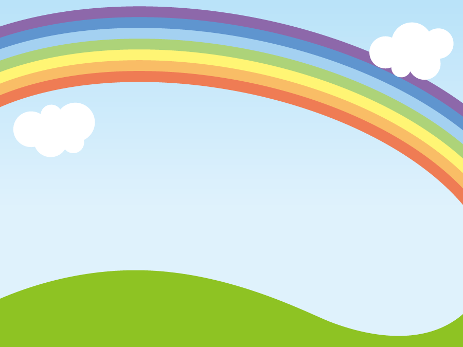 フリーイラスト 青空に架かる虹の風景