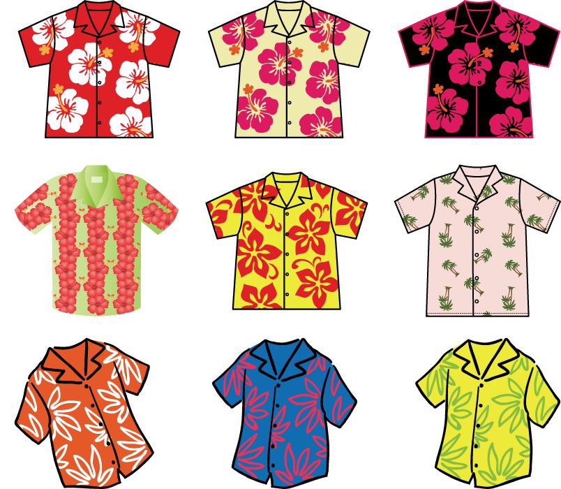 フリーイラスト 9種類のアロハシャツのセット