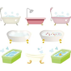 フリーイラスト, ベクター画像, AI, お風呂, 浴槽(バスタブ), 花びら, ラバーダック