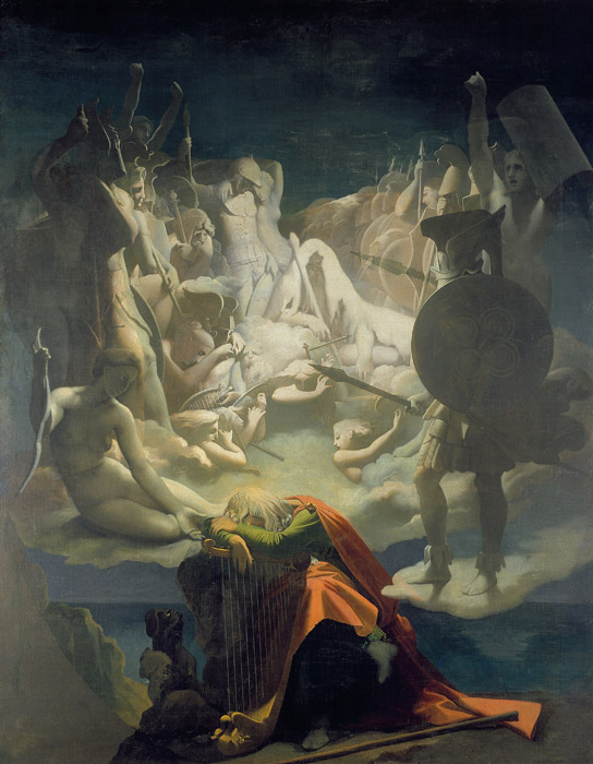 フリー絵画 ジャン=オーギュスト・ドミニク・アングル作「オシアンの夢」