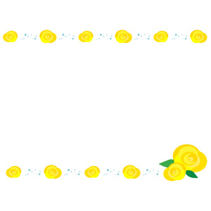 フリーイラスト, ベクター画像, AI, 背景, フレーム, 上下フレーム, 植物, 花, 薔薇(バラ), 黄色の花, 年中行事, 6月, 父の日