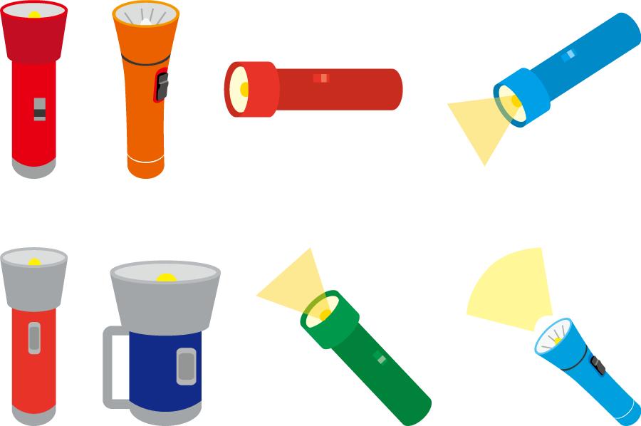 フリーイラスト 8種類の懐中電灯のセット