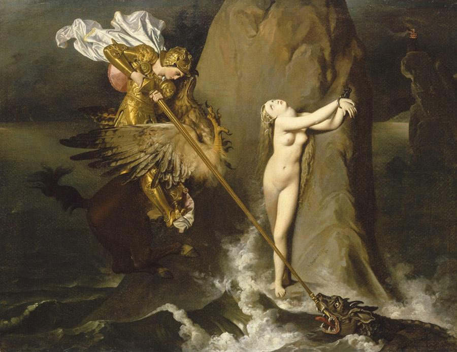 フリー絵画 ジャン=オーギュスト・ドミニク・アングル作「アンジェリカを救うルッジェーロ」