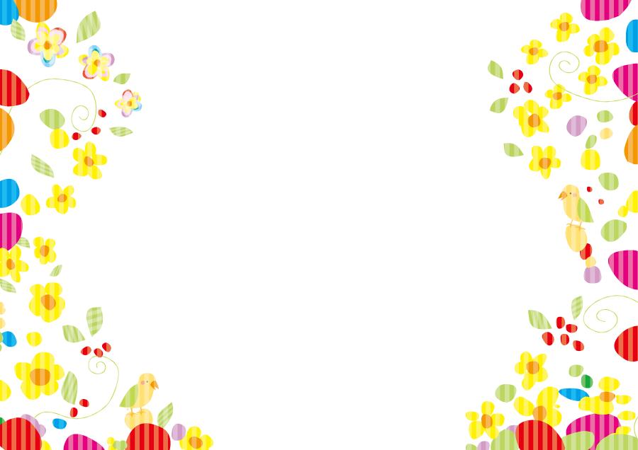 フリーイラスト 花と鳥のカラフルな飾り枠