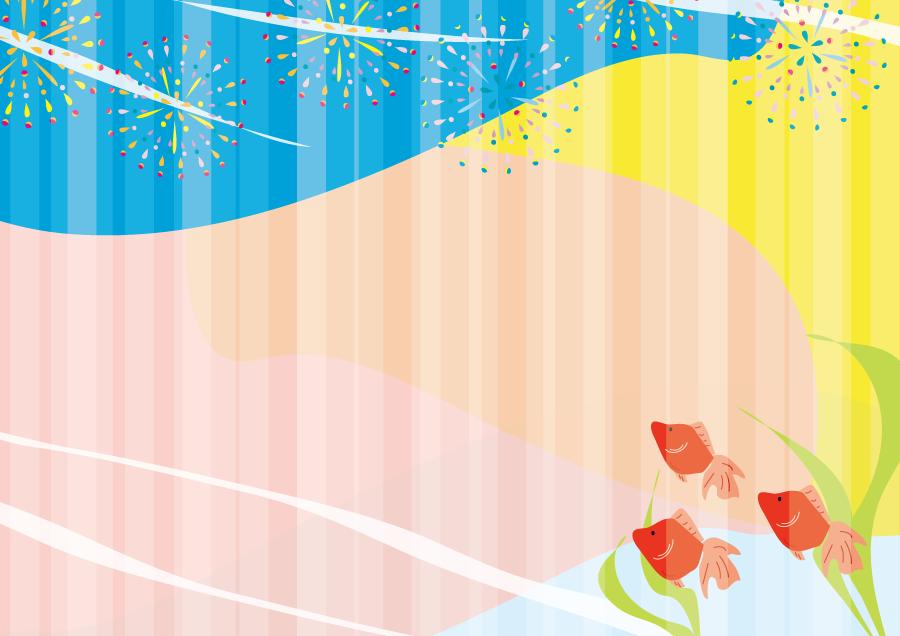 フリーイラスト 金魚と打ち上げ花火の背景