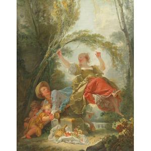 フリー絵画, ジャン・オノレ・フラゴナール, 人物画, 子供, 男の子, 女の子, 遊具, シーソー