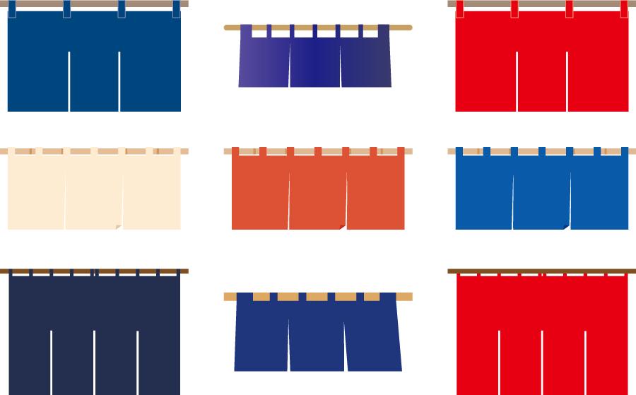 フリーイラスト 9種類ののれんのセット