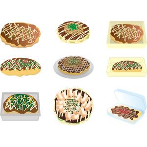 フリーイラスト, ベクター画像, AI, 食べ物(食料), 料理, 粉物料理, 日本料理, 大阪府, お好み焼き, 縁日