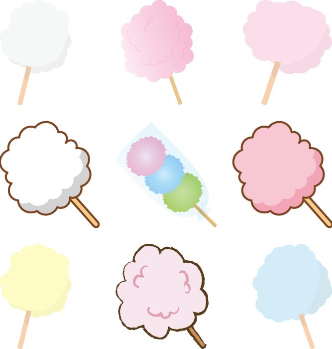フリーイラスト 9種類の綿菓子のセット