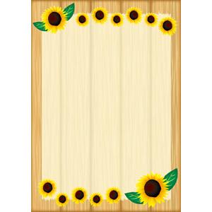 フリーイラスト, ベクター画像, AI, 背景, フレーム, 囲みフレーム, 掲示板, 木材, 木目, 花, 向日葵(ヒマワリ), 黄色の花, 夏