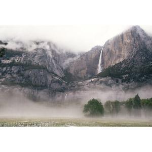 フリー写真, 風景, 自然, 滝, 岩山, ヨセミテ滝, ヨセミテ国立公園, カリフォルニア州, アメリカの風景, 霧(霞)