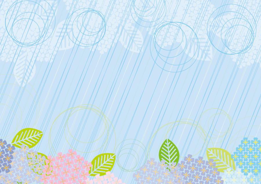 フリーイラスト 雨と紫陽花の花の背景