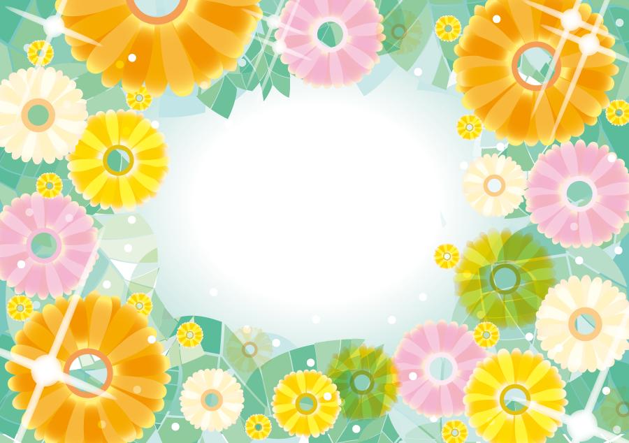 フリーイラスト ガーベラの花の飾り枠