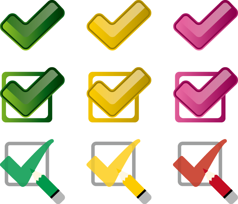 フリーイラスト 9種類のチェックマークのセット