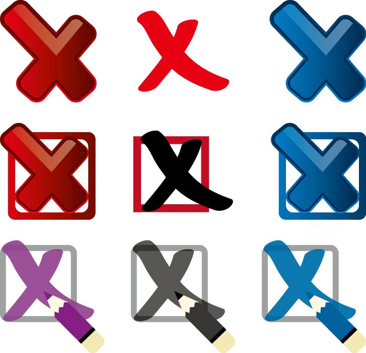 フリーイラスト 9種類のバツ印のセット