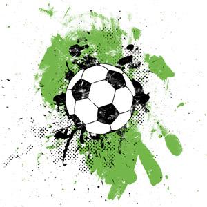 フリーイラスト, ベクター画像, AI, 背景, 汚れ, ペンキ, 飛沫(しぶき), サッカーボール, サッカー