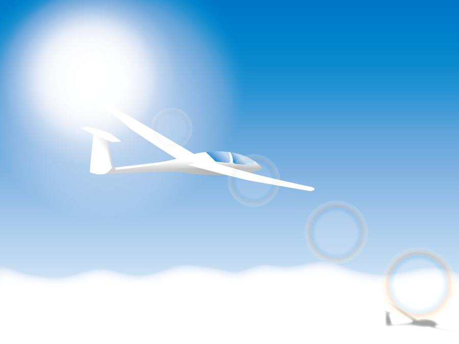 フリーイラスト 大空を飛ぶグライダー