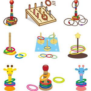 フリーイラスト, ベクター画像, AI, 玩具(おもちゃ), ゲーム, 輪投げ, 子供の遊び