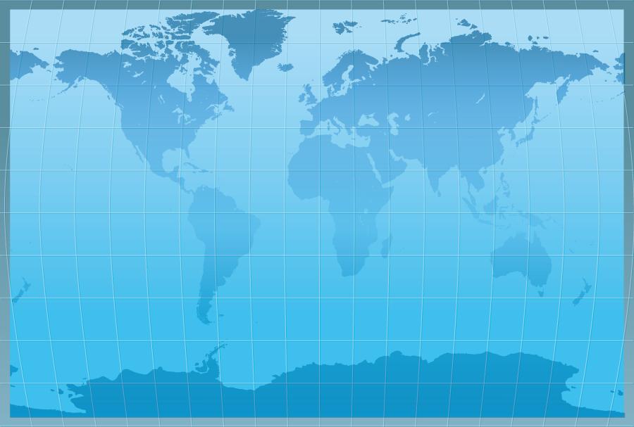 フリーイラスト 青色の世界地図