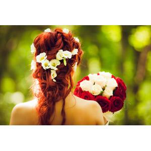 フリー写真, 人物, 女性, 外国人女性, 後ろ姿, 結婚式(ブライダル), 花嫁(新婦), 人と花, ブーケ, 薔薇(バラ)