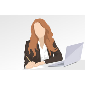 フリーイラスト, ベクター画像, EPS, 人物, 女性, 仕事, 職業, ビジネス, ビジネスウーマン, 書く, パソコン(PC), ノートパソコン, デスクワーク