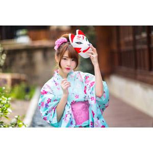 フリー写真, 人物, 女性, アジア人女性, 欣欣(00001), 中国人, 和服, 浴衣, 狐面, お面