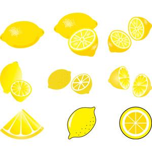 フリーイラスト, ベクター画像, AI, 食べ物(食料), 果物(フルーツ), レモン, 黄色(イエロー)