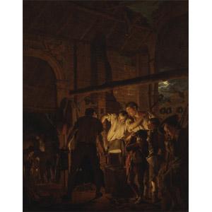 フリー絵画, ジョセフ・ライト, 風俗画, 工場, 製鉄所, 仕事, 職業, 鍛冶屋, 家族, 子供