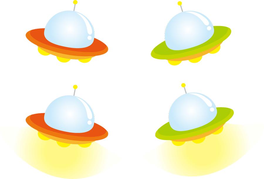 フリーイラスト 4種類のUFOのセット